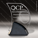 Acrylic Black Accented Wave Charcoal Contour Trophy Award Fan Wave Shaped Acrlic Awards