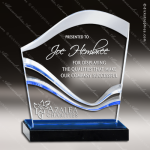 Acrylic Blue Accented Multi Water Wave Trophy Award Fan Wave Shaped Acrlic Awards
