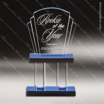 Acrylic Blue Accented Pillar Fan Trophy Award Fan Wave Shaped Acrlic Awards