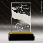 Acrylic Gold Accented Fusion Rectangle Wave Impress Trophy Award Fan Wave Shaped Acrlic Awards