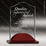 Acrylic  Rosewood Accented Jade Tidal Wave Engravable Trophy Award Fan Wave Shaped Acrlic Awards