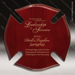 Engraved Rosewood Plaque Piano Finish Maltese Cross Wall Placard Award Fire & Safety Awards