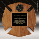 Engraved Walnut Plaque Fire Fighter Maltese Cross Black Brass Wall Plaque A Fire & Safety Awards