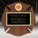 Engraved Walnut Plaque Fire Fighter Maltese Cross Black Plate Wall Placard Fire & Safety Awards