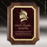 Engraved Walnut Plaque Fire Fighter Red Marble Cast Wall Placard Award Fire & Safety Awards