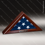USA Engraved  Cherry Hardwood Veteran Memorial Retirement Flag Case Flag Display Case