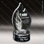 Crystal Clear Wildfire Flame Trophy Award Flame Shaped Crystal Awards