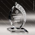 Crystal  Clear Flare Flame Trophy Award Flame Shaped Crystal Awards