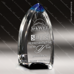 Crystal Blue Accented Cobalt Blaze Flame Trophy Award Flame Shaped Crystal Awards