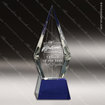 Crystal Blue Accented Diamond Trophy Award Flame Shaped Crystal Awards