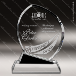 Crystal Black Accented Oblong Flame Trophy Award Flame Shaped Crystal Awards