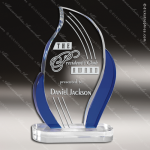 Crystal Blue Accented Flame Torch Trophy Award Flame Shaped Crystal Awards