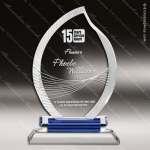 Crystal Blue Accented Flame Fan Trophy Award Flame Shaped Crystal Awards
