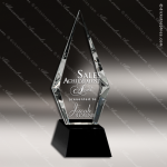 Crystal Black  Accented Diamond Trophy Award Flame Shaped Crystal Awards
