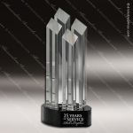 Crystal Black Accented Diamond Tower Trophy Award Flame Shaped Crystal Awards