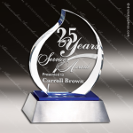 Crystal Blue Accented Eternal Flame Aluminum Base Trophy Award Flame Shaped Crystal Awards