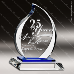 Crystal Blue Accented Eternal Flame Trophy Award Flame Shaped Crystal Awards