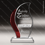 Crystal Red Accented Artisan Flame Droplet Trophy Award Flame Shaped Crystal Awards