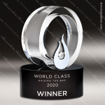 Crystal Black Accented Galaxy Flame Trophy Award Flame Shaped Crystal Awards