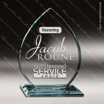 Glass Jade Accented Flame Ignite Trophy Award Flame Shaped Glass Awards