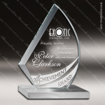 Glass Silver Accented Flame Influence Trophy Award Flame Shaped Glass Awards