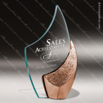 Glass Gold Accented Bronze Flame Eclipse Trophy Award Flame Shaped Glass Awards