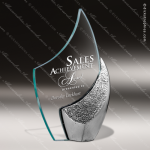 Glass Silver Accented Flame Fini Trophy Award Flame Shaped Glass Awards