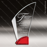 Macneir Arch Glass Red Accented Fan Shaped Trophy Award Flame Shaped Glass Awards