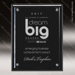 Engraved Glass Plaque Black Piano Finish Floating Stand-Off Wall Placard Floating Clear Acrylic Plaques