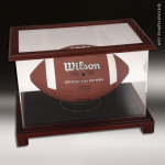 Display Case Acrylic Wood Cherry Finish for Football or Shoes Football Display Case