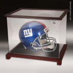 Display Case Acrylic Wood Cherry Finish for Football Helmet Football Display Case