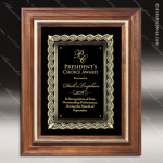 Engraved Walnut Plaque Framed Gold Cast Flourish Holder Award Framed Plaques