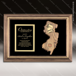 Engraved Walnut Plaque New Jersey and Pennsyslvania Fireman Framed Plaques