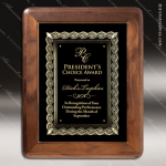 Engraved Walnut Plaque Framed Cast Flourish Insert Award Framed Plaques