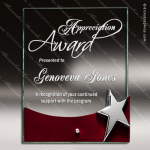 Tacloban Star Glass Rosewood Accented Rectangle Plaque Silver Star Trophy Free Standing Plaques