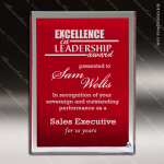 Tantara Reds Glass Red Accented Rectangle Plaque Mirror Border Trophy Award Free Standing Plaques