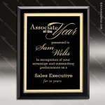 Taejon Gold Glass Black Accented Rectangle Plaque Gold Borders Trophy Free Standing Plaques