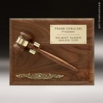 Corporate Walnut Plaque Gavel Wooden Removable Wall Placard Award Gavel Trophy Awards