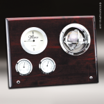 Desk Gift Rosewood Silver Accented Clock and Weather Center Award Gift Awards
