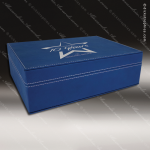 Engravable Gift Award Hinged Presentation Box - Leather Blue W/ Silver Lett Gift & Wine Display Collection