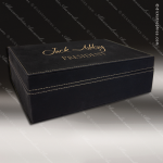 Engravable Gift Award Hinged Presentation Box - Leather Black W/ Gold Lette Gift & Wine Display Collection