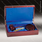 Engraved Rosewood Executive President Gavel Presentation Case Gift & Wine Display Collection