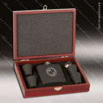 Engraved Flask Stainless Steel  Rosewood 6 Piece Boxed Black Gift Set Gift & Wine Display Collection