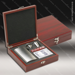 Engraved Flask Stainless Steel  Rosewood 5 Piece Boxed Brush Silver Gift Se Gift & Wine Display Collection