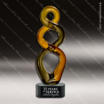 Artistic Black Accented Art Glass Gold Jabin Curve Trophy Award Glass Art Trophy Awards