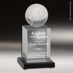 Glass Black Accented Globe Tower Engravable Trophy Award Globe Shaped Crystal Awards