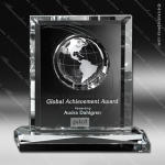 Crystal Clear Columbus Global Trophy Award Globe Shaped Crystal Awards