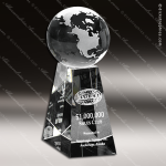 Crystal Clear Tapered Globe Trophy Award Globe Shaped Crystal Awards