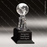 Crystal Black Accented Globe Trophy Award Globe Shaped Crystal Awards