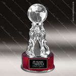 Crystal Globe Rosewood Base Trophy Award Globe Shaped Crystal Awards